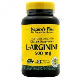 L-Arginina 500 mg. en forma libre Natures Plus 90 cápsulas - L-Arginine 500 de Natures Plus contiene 500 mg. de L-Arginina por cada cápsula, en forma libre para maximizar su absorción.