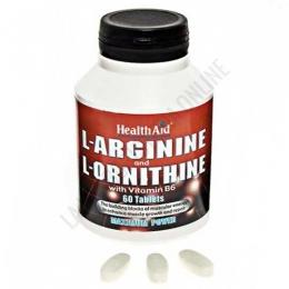 L-Arginina y L-Ornitina Health Aid 60 comprimidos - L-Arginine + L-Ornithine de Health Aid es una formulación que combina ambos aminoácidos y los potencia con la vitamina B6 para ayudar a maximizar la tasa de absorción de los aminoácidos individuales.