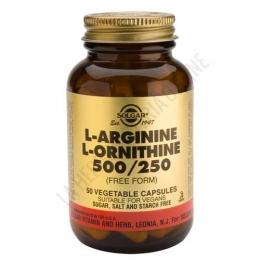 L-Arginina 500 mg. + L-Ornitina 250 mg. en forma libre Solgar 50 cápsulas - L-Arginine L-Ornithine de Solgar contiene 500 y 250 mg. respectivamente de cada uno de los citados aminoácidos en forma libre, para maximizar su absorción.