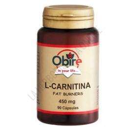 L-Carnitina 450 mg. Obire 90 cápsulas - La L-Carnitina de Obire contiene 450 mg. de l-carnitina por cápsula, aminoácido que transporta los ácidos grasos al interior de las células para que sean utilizados como energía favoreciendo así su eliminación.
