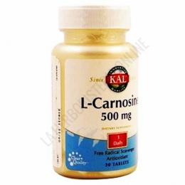 L-Carnosine 500 mg. Kal 30 comprimidos - L-Carnosine de Kal contiene 500 mg. de L-Carnosina por cada comprimido, dipéptido conocido por sus propiedades antioxidantes.
