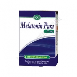 Melatonin pura 1 mg. Esi 120 microtabletas - Melatonin Pura de Esi contiene 120 comprimidos de 1 mg. de melatonina, complemento ideal para ayudar a conciliar el sueño y aliviar los transtornos provocados por el jet-lag.