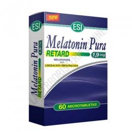 Melatonin Pura Retard 1,9 mg. liberación prolongada Esi 60 microtabletas - Melatonin Pura Retard de Esi contiene 60 micro-comprimidos de 1,9 mg. de melatonina, complemento ideal para ayudar a conciliar el sueño y aliviar los transtornos provocados por el jet-lag. Su fórmula especial Retard garantiza una liberación de melatonina gradual y completa durante toda la noche.