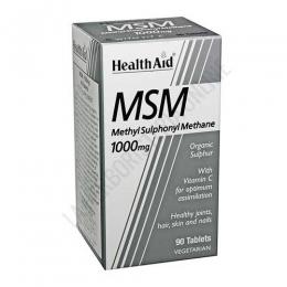 MSM Health Aid 90 comprimidos - MSM (Metilsulfonilmetano) 1.000 mg. de Health Aid es un compuesto natural rico en azufre que contribuye a mantener la salud de huesos, articulaciones, ligamentos, cabello, piel y uñas.
