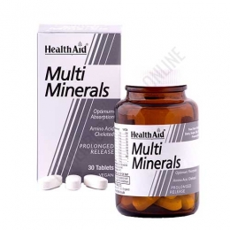 Multi Minerales Health Aid comprimidos - Multi Minerals de Health Aid es una fórmula a base de complementos minerales y vitamina D en comprimidos de liberación prolongada.