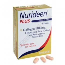 Nurideen Plus Health Aid 60 comprimidos - Nurideen Plus de Health Aid es el complemento ideal para el cuidado y belleza de la piel. Con colágeno, sílice, ácido hialurónico, vitaminas C y E y Zinc, aporta nutrientes que ayudan a mantener la piel elástica y fuerte.