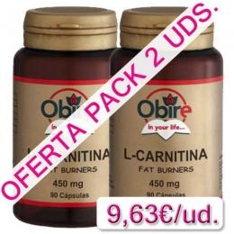 OFERTA 2 uds. L-Carnitina 450 mg. Obire 90 cápsulas - OFERTA 2 BOTES L-Carnitina de Obire. Contiene 450 mg. de l-carnitina por cápsula, aminoácido que transporta los ácidos grasos al interior de las células para que sean utilizados como energía favoreciendo así su eliminación.