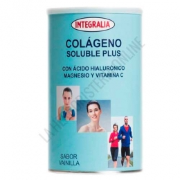 Colageno Soluble Plus + Acido Hialuronico, Magnesio y Vitamina C sabor vainilla Integralia 360 g - El Colágeno Hidrolizado de Integralia contiene 10 gr. de colágeno hidrolizado por dosis, además del 100% recomendado de Magnesio y Vitamina C + 10 mg. de ácido hialurónico. A destacar: Edulcorado con stevia y de agradable sabor a vainilla. Envase para 30 días de toma.