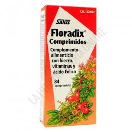 Floradix hierro Salus 84 comprimidos - Floradix de Salus es una formulación a base e Hierro que contiene vitaminas y jugos de frutas para optimizar su absorción. No deja restos de hierro en el intestino por lo que resulta muy tolerable para el estómago, evitando el malestar estomacal y estreñimiento. Contiene, además de los ingredientes de Floradix jarabe, ácido fólico y niacina.