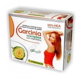 Garcinia Complex Pinisan 60 cápsulas - Garcinia Complex de Pinisan es una formulación de Garcinia Cambogia al 60% de HCA + L-Triptófano, por lo que resulta de especial interés para ayudar a controlar el apetito sobre todo en caso de mucho apetito y ansiedad por la comida.