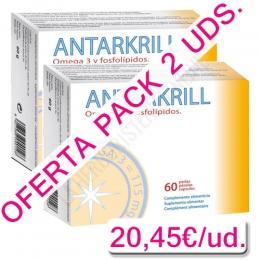 OFERTA - Pack 2 uds. Antarkrill Aceite de Krill 500 mg. Bioserum 60 perlas - Antarkrill de Bioserum es un complemento alimenticio a base de aceite de krill de alta biodisponibilidad. 3 perlas aportan 262,5 mg. de omega-3 (180 mg. EPA + 82,5 mg. DHA) y 120 mcg de astaxantina. PACK AHORRO, TOTAL 120 PERLAS.