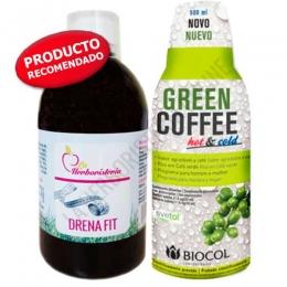 OFERTA PACK Depurativo con Café Verde: 1 Drenafit + 1 Green Coffee Hot & Cold Biocol 500 ml. - OFERTA Pack Completo Detox - Quemador, compuesto por 1 ud. de Drenafit + 1 ud. de Café Verde Biocol. Formulación que contribuye a eliminar líquidos y toxinas acumulados en exceso en el organismo y a estimular la quema de grasas. PRODUCTO EN STOCK - DISPONIBILIDAD INMEDIATA.