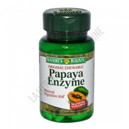 Papaya Enzyme Natures Bounty - Los comprimidos masticables de Papaya Natures Bounty contienen una combinación de enzimas y fruto de papaya ideales para complementar la dieta por sus propiedades digestivas. PRODUCTO DESCATALOGADO  POR EL LABORATORIO FABRICANTE. Como alternativa sí disponible le recomendamos: Enzima de Papaya Natures Bounty 100 comprimidos masticables -Pulse aquí para ver el producto.