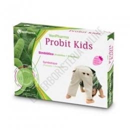 Probit Kids Fermentos Lácteos infantiles sabor fresa VenPharma 10 sobres - Probit Kids de VenPharma es una combinacion de 12 cepas de fermentos lácticos y Vitamina C, específica para los más pequeños, presentada en sobres sabor fresa listos para tomar disueltos en agua.