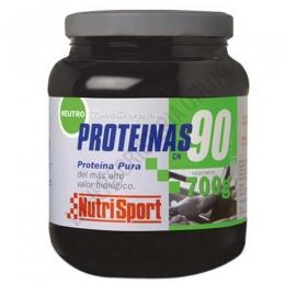 Proteínas 90 Nutrisport sabor neutro bote 700 gr. - Proteínas 90 Nutrisport es una fuente proteica de primera calidad a base de concentrado de suero lácteo, caseína y caseinato cálcico que proporciona un 90% de proteína por batido sin apenas hidratos ni grasas.