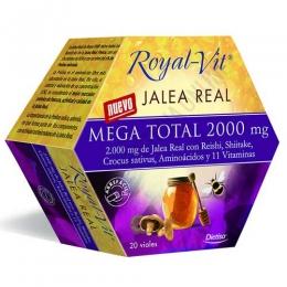 Royal Vit Mega Total Dietisa Jalea Real 2000 20 viales - Royal Vit Mega Total es una formulación muy completa a base de 2000 mg. de Jalea Real y otros ingredientes específicos para ayudar al organismo ante situaciones de fatiga o cansancio intenso.