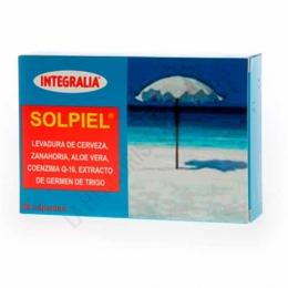 Solpiel Integralia 60 cápsulas - Si quieres proteger y ayudar a tu piel para el bronceado, Solpiel de Integralia incluye una selección de ingredientes idóneos. A base de Levadura de Cerveza, Zanahoria, Germen de Trigo, Aloe Vera y Conezima Q10.