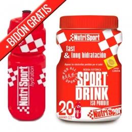 SportDrink Iso Powder 20 Nutrisport sabor limón bote 1120 gr. + REGALO BIDON - Sport Drink Iso Powder de Nutrisport es una bebida isotónica en polvo presentada en bote y equivalente a 15 litros de bebida preparada que reúne vitaminas, minerales e hidratos de carbono indispensables.