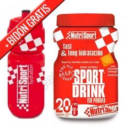 SportDrink Iso Powder 20 Nutrisport sabor naranja bote 1120 gr. + REGALO BIDON - Sport Drink Iso Powder de Nutrisport es una bebida isotónica en polvo presentada en bote y equivalente a 15 litros de bebida preparada que reúne vitaminas, minerales e hidratos de carbono indispensables.