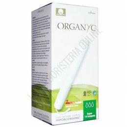 Tampones hipoalergénicos Organyc 100% algodón orgánico  super 14 uds. -