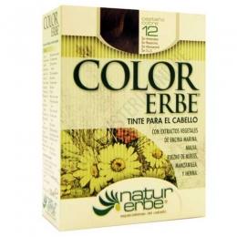 Tinte vegetal Color Erbe sin amoniaco - 12 CASTAÑO COBRE - Color Erbe de Natur Erbe es un tinte vegetal que cubre totalmente las canas, formulado sin amoniaco, resorcina, noxynol ni S.L.S. y enriquecido con extractos vegetales, por lo que además de teñir respeta, nutre y da brillo al cabello.