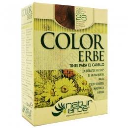 Tinte vegetal Color Erbe sin amoniaco - 28 RUBIO OSCURO COBRE - Color Erbe de Natur Erbe es un tinte vegetal que cubre totalmente las canas, formulado sin amoniaco, resorcina, noxynol ni S.L.S. y enriquecido con extractos vegetales, por lo que además de teñir respeta, nutre y da brillo al cabello.