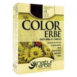 Tinte vegetal Color Erbe sin amoniaco - 4 CASTAÑO CLARO - Color Erbe de Natur Erbe es un tinte vegetal que cubre totalmente las canas, formulado sin amoniaco, resorcina, noxynol ni S.L.S. y enriquecido con extractos vegetales, por lo que además de teñir respeta, nutre y da brillo al cabello.