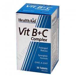 Vit B+C Complex Health Aid 30 comprimidos - El Complejo de Vitaminas B + C de Health Aid es una fórmula sinérgica que potencia la acción de las vitaminas del grupo B y la vitamina C, en prácticos comprimidos de liberación prolongada.