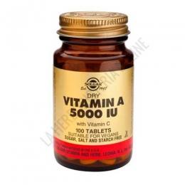 Vitamina A seca 5000 ui palmitato Solgar 100 comprimidos - La Vitamina A de Solgar, apta para veganos, aporta además de Vitamina A, vitamina C, siendo recomendada para le cuidado de la piel y mucosas, así como para el mantenimiento de una visión saludable.