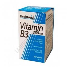 Vitamina B3 Niacinamida 250 mg. Health Aid 90 comprimidos - Vitamina B3 Niacinamida de Health Aid son comprimidos  de liberación prolongada a base de Vitamina B3 (niacina) en forma de fácilmente absorbible.