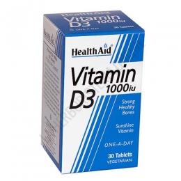 Vitamina D3 Health Aid 30 comprimidos - Vitamina D3 (colecalciferol) de Health Aid de 1000 UI. Aporta  aporta 25 µg por comprimido (representa el 500% de la CDR).