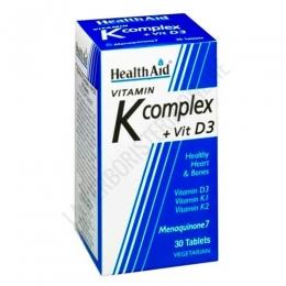 Vitamina K Complex con Vitamina D3 Health Aid 30 comprimidos - Vitamina K Complex de Health Aid es una formulación que proporciona una combinación única y equilibrada de vitaminas liposolubles esenciales tales como las vitaminas K1, K2 (menaquinona-7) y D3.