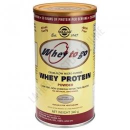 Whey To Go Solgar Proteína de suero en polvo sabor vainilla 340 gr. - La proteína de suero en polvo Whey To Go de Solgar es una formulación científicamente avanzada de proteína con intercambio de iones, micro-filtrado e hidrolizado, L-Glutamina en forma libre y aminoácidos ramificados en forma libre (BCAA).