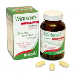 Wintervits Health Aid comprimidos - Wintervits de Health Aid es una combinación específica para reforzar el sistema inmunitario durante los meses de invierno, a base de Vitamina C, Hongo Maitake, Própolis y Zinc, entre otros.