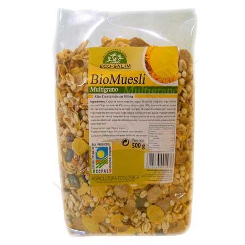 Bio Muesli multigrano ecológico Ecosalim 500 gr. - Bio Muesli Ecosalim es un alimento ideal para tomar con yogur, leche o bebida vegetal y empezar la mañana con energía, con alto contenido en fibra.