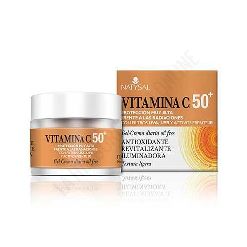 Gel Crema facial Vitamina C con protección 50+ Natysal 50 ml.