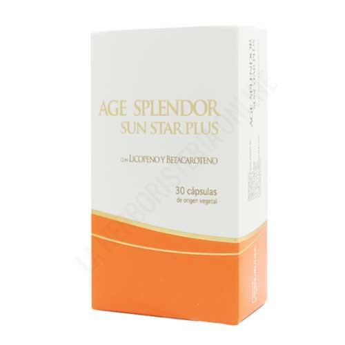 OUTLET Age Splendor Sun Star Plus bronceado Naturlider 30 cápsulas - OUTLET - Unidades limitadas. Disponible Age Splendor Sun Star Plus potenciador del bronceado y protector de Naturlíder. Prepara tu piel para el sol con Age Splendor Sun Star Plus, el suplemento ideal para proteger la piel antes, durante y después de la exposición al sol. Gracias al efecto protector del tomate (rico en licopeno), potenciador de la zanahoria y antioxidante de la granada, tu piel lucirá radiante con un bonito y saludable bronceado. Contenido en perfecto estado, fecha de caducidad Mayo de 2019. Motivo Outlet: Últimas unidades en stock.