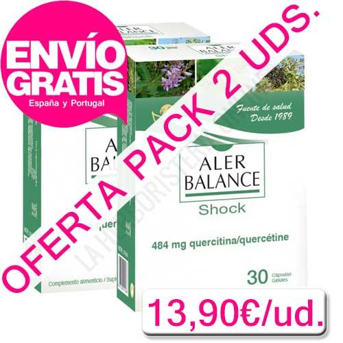 OFERTA PACK 2 UDS. AlerBalance Shock con Quercitina Bioserum 30 cápsulas - OFERTA con ENVÍO GRATIS a España y Portugal - Pack 2 uds. del NUEVO AlerBalance Shock con Quercitina Bioserum, para los estados más agudos de alergia. Alerbalance Shock de Bioserum (la unidad sale a 13,90€).PRODUCTO CON ENVÍO GRATIS A ESPAÑA Y PORTUGAL.