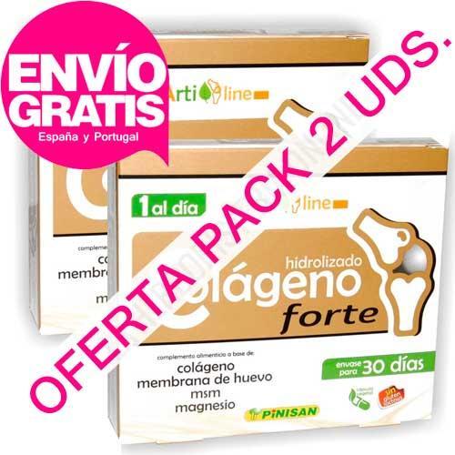 OFERTA 2 uds. Colageno con Magnesio Forte 1 al día Pinisan 30 cápsulas x2 - OFERTA con ENVÍO GRATIS a España y Portugal - Pack 2 cajas del NUEVO Colágeno Hidrolizado Forte Pinisan. Colágeno con Magnesio concentrado: Sólo 1 cápsula al día. Colageno Forte de Pinsan contiene además ingredientes avalados por estudios clínicos y 1 sólo blister de 30 cápsulas dura todo el mes. PRODUCTO CON ENVÍO GRATIS A ESPAÑA Y PORTUGAL.