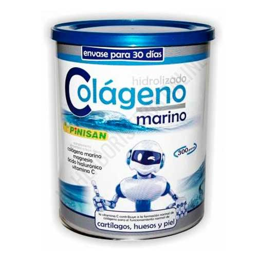 Colageno Marino Hidrolizado con Magnesio, Vitamina C y Acido Hialuronico Pinisan 300 g. - Colágeno Marino de Pinisan es una formulación a base de Colágeno hidrolizado de origen marino (procede de peces), Magnesio, Vitamina C y Ácido Hialurónico. Ideal para el cuidado de cartílagos, huesos y piel.  Envase para 30 días de toma.