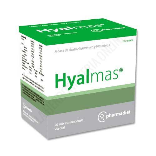 OFERTA Hyalmas tendones y ligamentos Pharmadiet 20 sobres - Hyalmas de Pharmadiet es un complemento alimenticio a base de Ácido Hialurónico y vitamina C que resulta despecialmente útil en el tratamiento y la prevención de molestias y lesiones en tendones y ligamentos.
