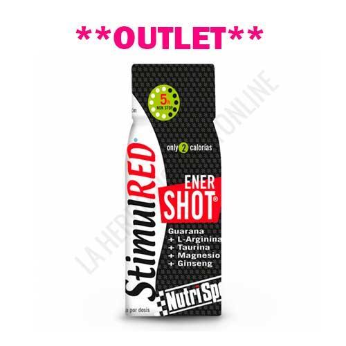 OUTLET - StimulRed EnerShot 5 horas non stop Nutrisport botellita 60 ml. - OUTLET - Unidades limitadas. Disponible StimulRed EnerShot 5 horas non stop Nutrisport, formulado a base de Guaraná, Taurina, L-Arginina, Magnesio y Ginseng para un plus de energía instantánea. Sin azúcar, sólo 2 calorías. Contiene 80 mg. de cafeína. Producto en perfecto estado, precintado y con fecha de caducidad Febrero de 2018. Motivo Outlet: Últimas unidades en stock.