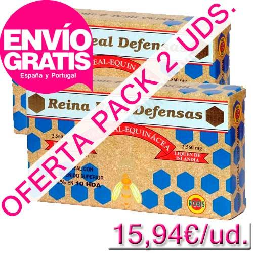 OFERTA - Pack 2 uds. Reina Real Defensas Jalea Real Robis 20 ampollas - OFERTA Reina Real Defensas. La unidad le sale a 15,94€ comprando el pack de 2 uds. Ideal para fortalecer las defensas. PRODUCTO CON ENVÍO GRATIS A ESPAÑA Y PORTUGAL.