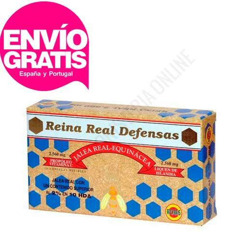 Reina Real Defensas Jalea Real Robis 20 ampollas - Reina Real Defensas de Robis es tu aliado ideal para reforzar las defensas gracias al efecto inmuno estimulante de su formulación, a base de Jalea Real, Propóleo, Equinácea, Liquien de Islandia y Vitamina C. PRODUCTO CON ENVÍO GRATIS A ESPAÑA Y PORTUGAL.