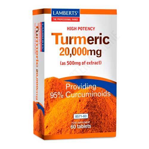 Turmeric curcuma alta potencia Lamberts 20000 mg. 60 comprimidos