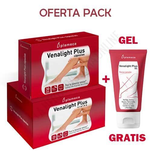 OFERTA DEL MES PACK COMPLET Venalight Plus Plameca 20 viales + 30 cápsulas + GEL VENALIGHT GRATIS - OFERTA DEL MES -32% DESCUENTO