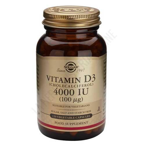 Vitamina D3 4000 UI 100 mcg Solgar 120 cápsulas vegetales -