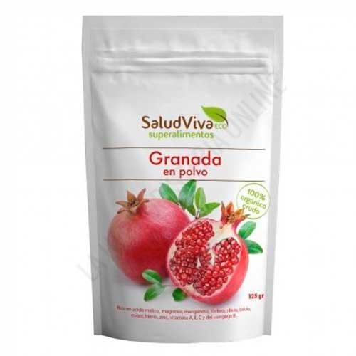 Granada BIO en polvo Salud Viva 125 gr. - El polvo puro 100% granada procedente de agricultura ecológica Salud Viva es un superalimento no procesado de alta calidad y pureza. De sabor dulce y afrutado.