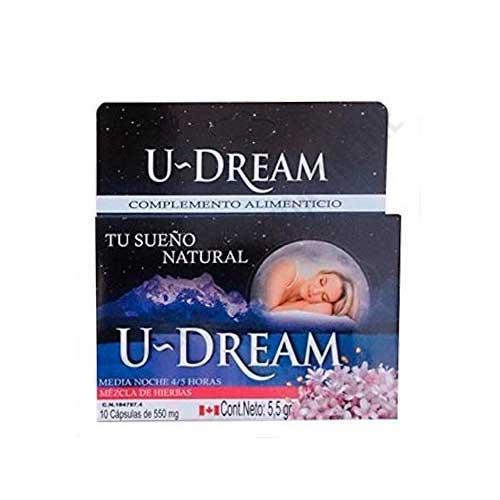 U Dream Noche Completa mezcla 100% herbal 10 cápsulas - U-Dream es la solución para conseguir un sueño relajado durante toda la noche. Es una mezcla 100% herbal de efecto rápido, cuya fórmula Noche Completa te ayuda a conciliar el sueño fácilmente y a despertarte descansado por la mañana. Acción 7-8 horas de sueño.