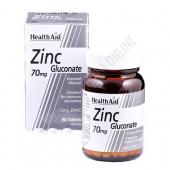 Gluconato de Zinc Health Aid 90 comprimidos - Zinc Gluconate de Health Aid proporciona el 100% de la CDR (Cantidad Diaria Recomendada en la Unión Europea) de Zinc elemental, en prácticos comprimidos.